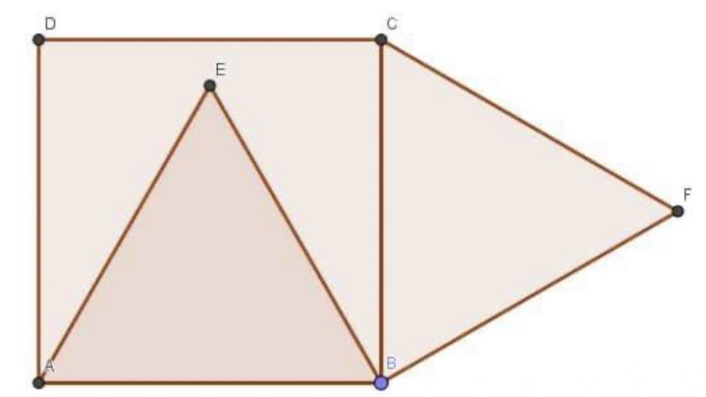 Un carré et deux triangles équilatéraux